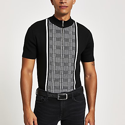 Black check slim fit half zip polo shirt