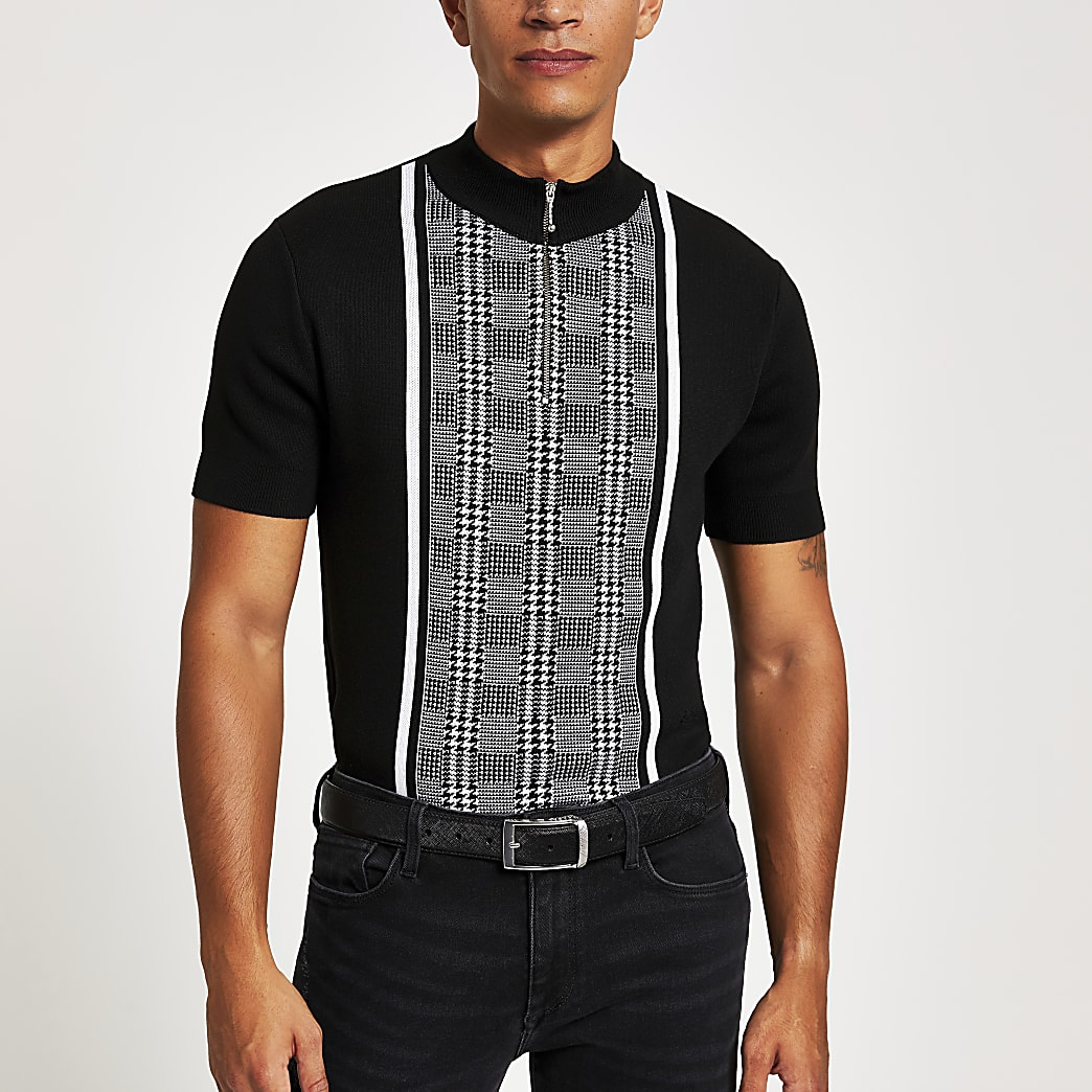 Black check slim fit half zip polo shirt