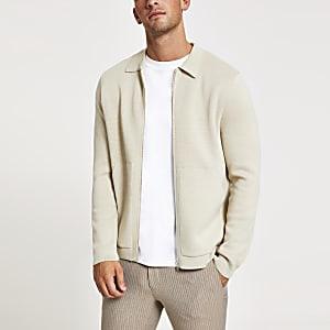 Langärmeliges, steingraues Strick-Oberhemd im Slim Fit
