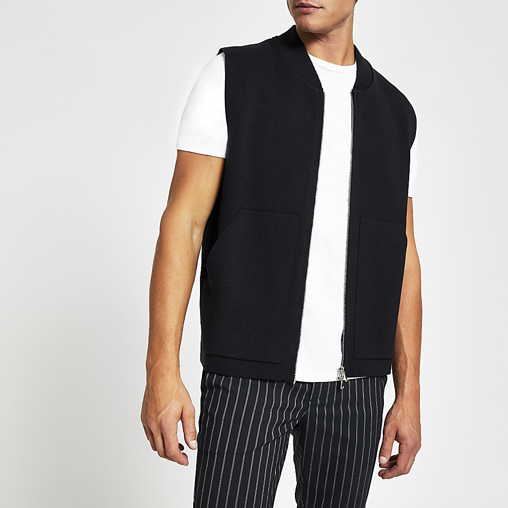 Navy slim fit knitted gilet