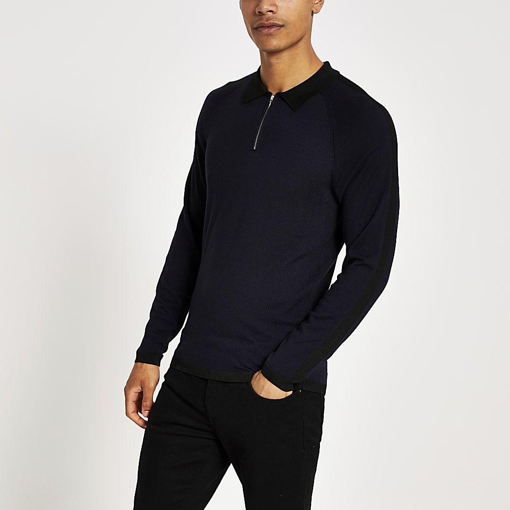 Navy long sleeve slim fit zip neck polo shirt