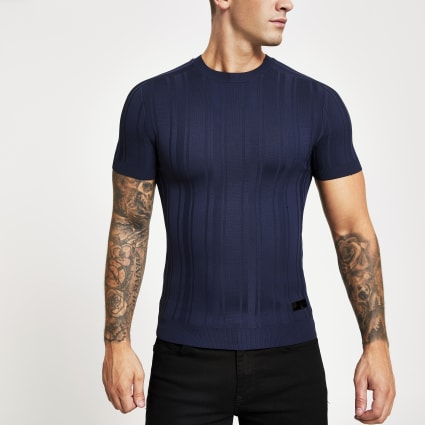 Navy rib knitted muscle fit T-shirt