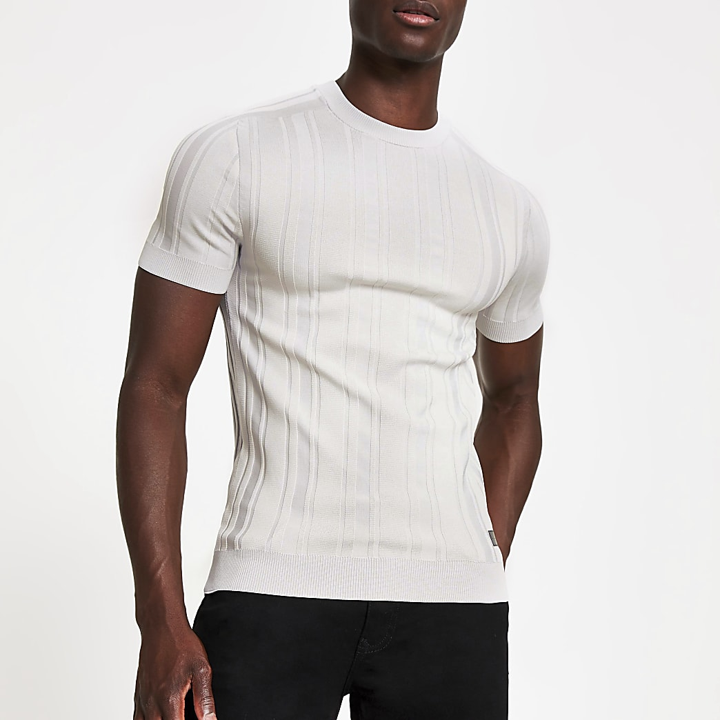 Grey ribbed knitted muscle fit T-shirt