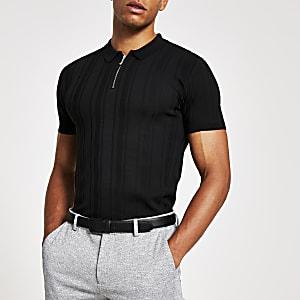 Schwarzes Muscle Fit Poloshirt im Rippenstrick mit Reißverschluss am Kragen