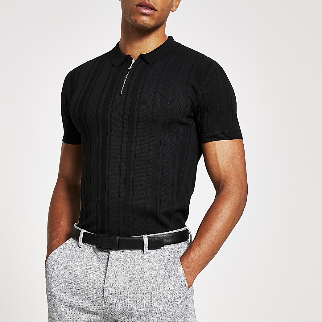Black muscle fit zip neck knitted polo shirt