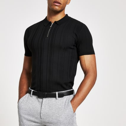Black rib knit muscle fit zip neck polo shirt