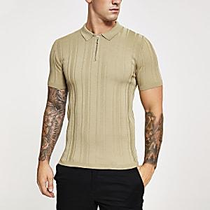 Beiges Muscle Fit Poloshirt aus Rippstrick mit kurzem Reißverschluss