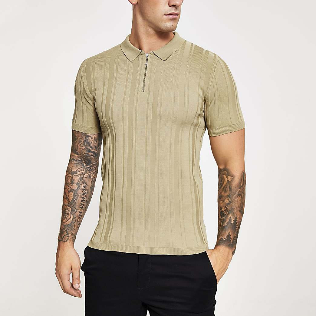 Beige rib knit muscle fit half zip polo shirt