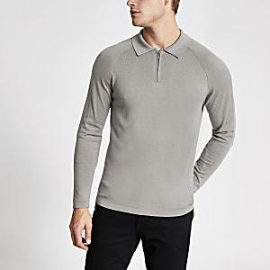 Graues Strickpoloshirt im Slim Fit mit kurzem Reißverschluss