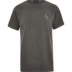 Black washed '7th' T-shirt