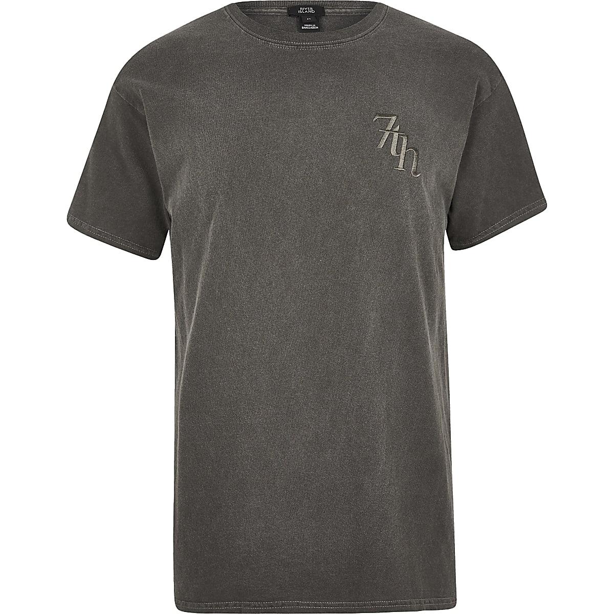 Black washed 'Svnth' embroidered T-shirt