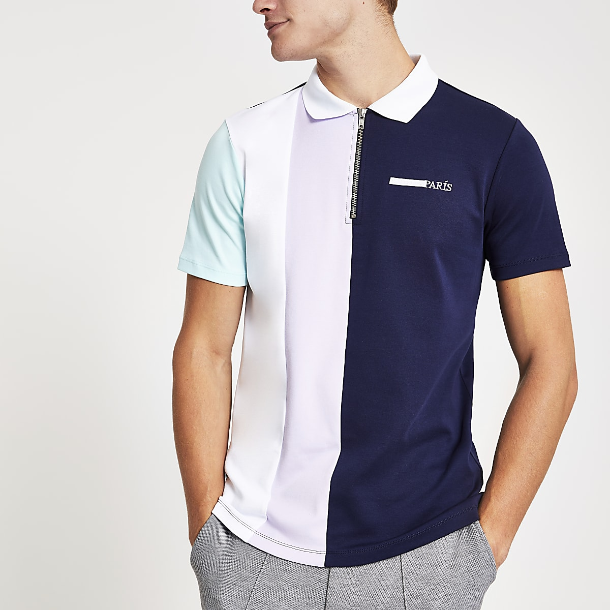 Navy block colour zip front polo shirt