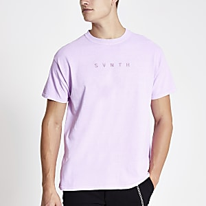 Paars washed T-shirt met 'Svnth'-print