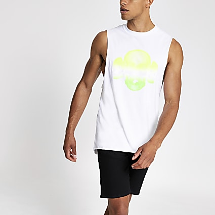 White neon skull tank top