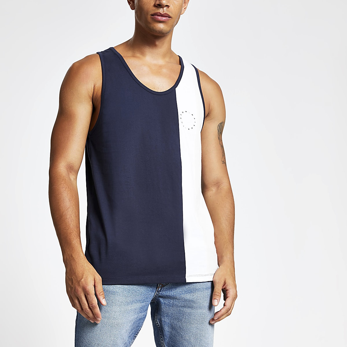 Navy slim fit Maison Riviera blocked vest