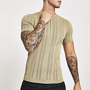 Kiezelgrijs strak T-shirt met ritssluiting