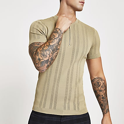 Stone zip neck muscle fit knitted T-shirt