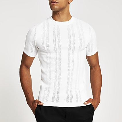 White pointelle stitch muscle fit T-shirt
