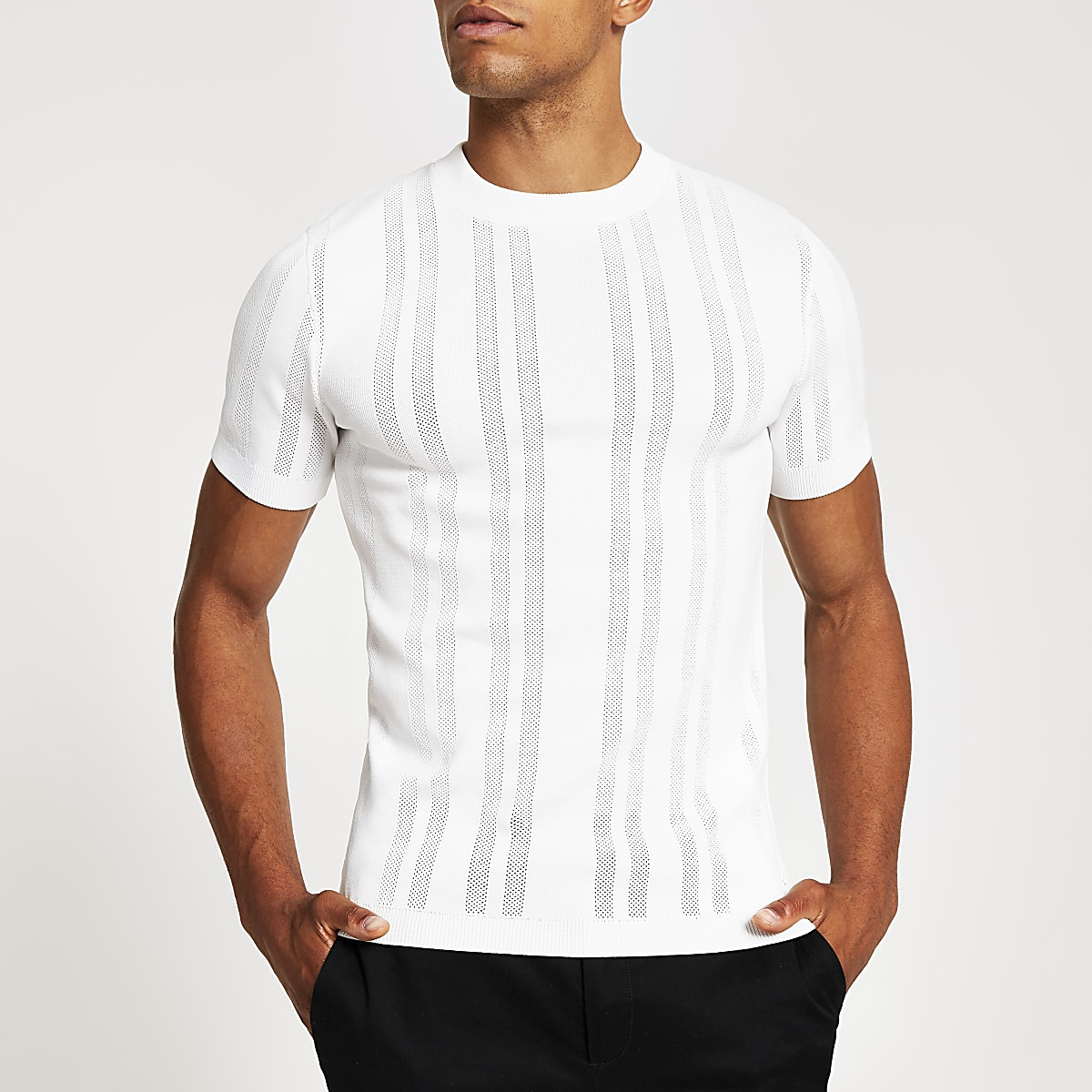 White pointelle muscle fit knitted T-shirt