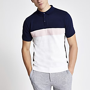 Pink block slim fit knitted polo shirt