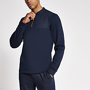 Marineblaues, langärmeliges Slim Fit Polohemd mit Nadelstreifen-Design