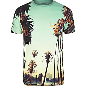Green LA City print muscle fit T-shirt