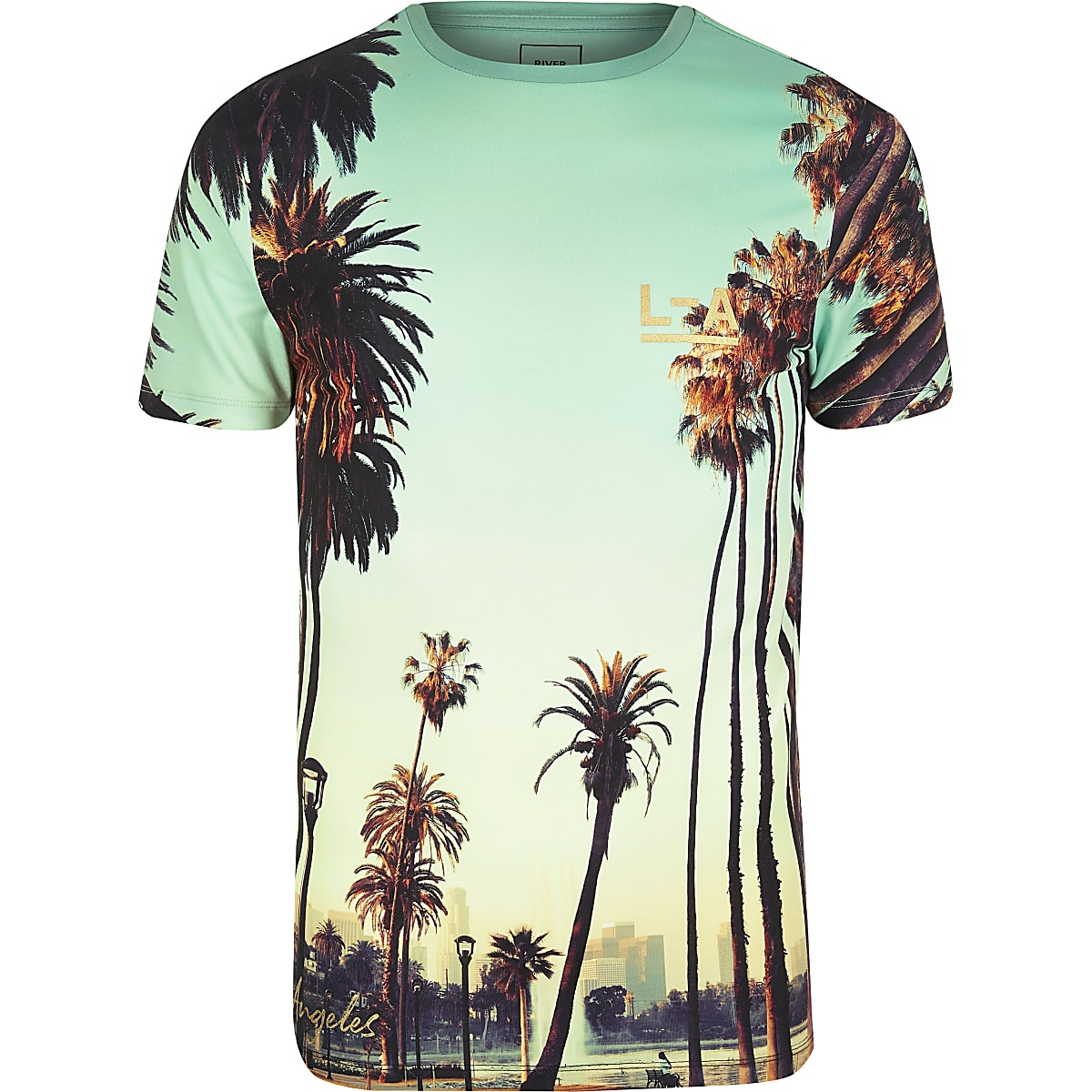 Green LA City print muscle fit T-shirt