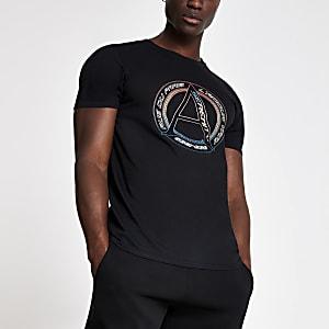 Zwart T-shirt met 'Serenity'-logo en korte mouwen