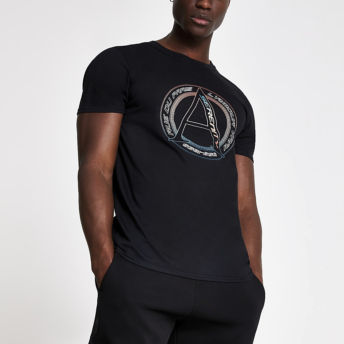 Black 'Serenity' logo short sleeve T-shirt