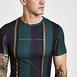 Groen gestreept slim-fit T-shirt met Maison Riviera-print