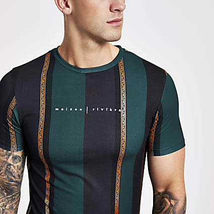 Green stripe Maison muscle fit T-shirt