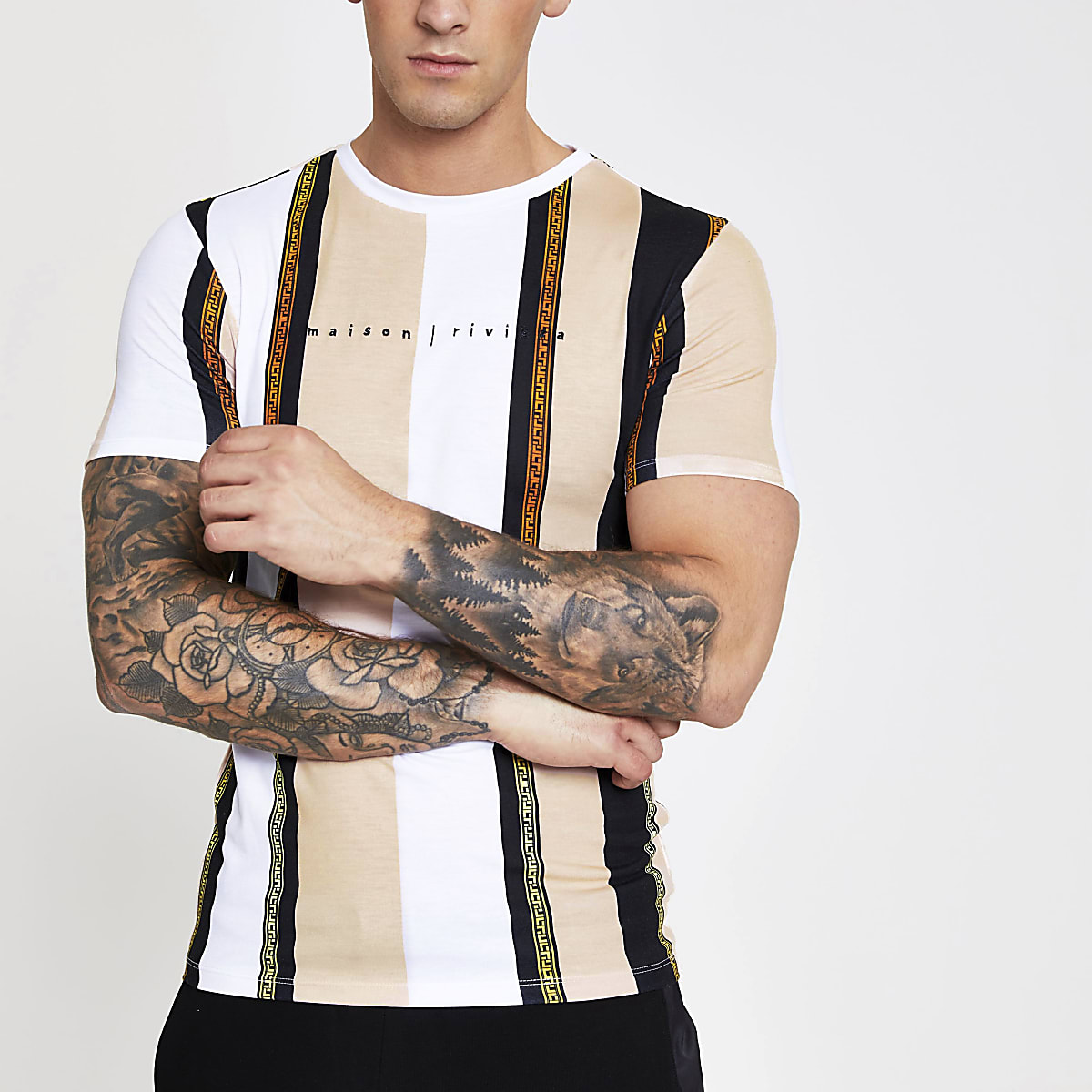 Wit gestreept slim-fit T-shirt met Maison-print