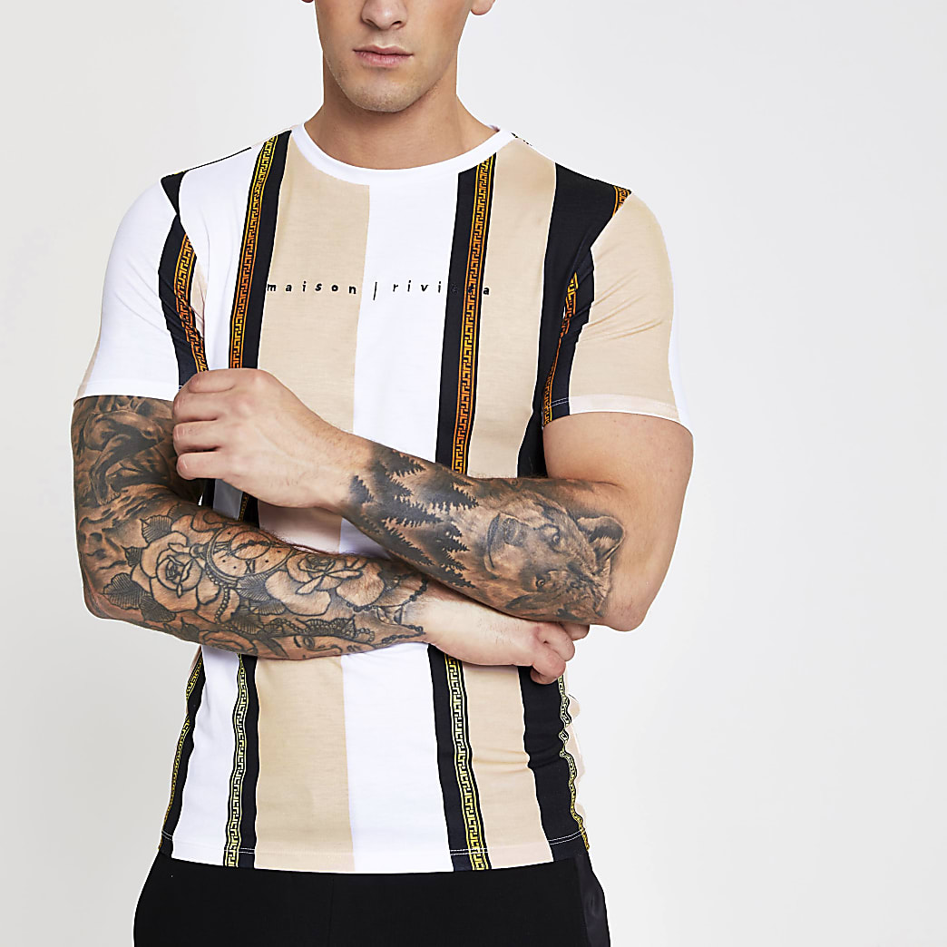 Maison Riviera white print muscle fit T-shirt