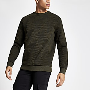 Green textured jersey sweatshirt