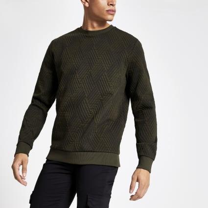 Green textured jersey sweatshirt