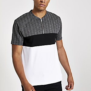 Polo slim à carreaux gris zippé