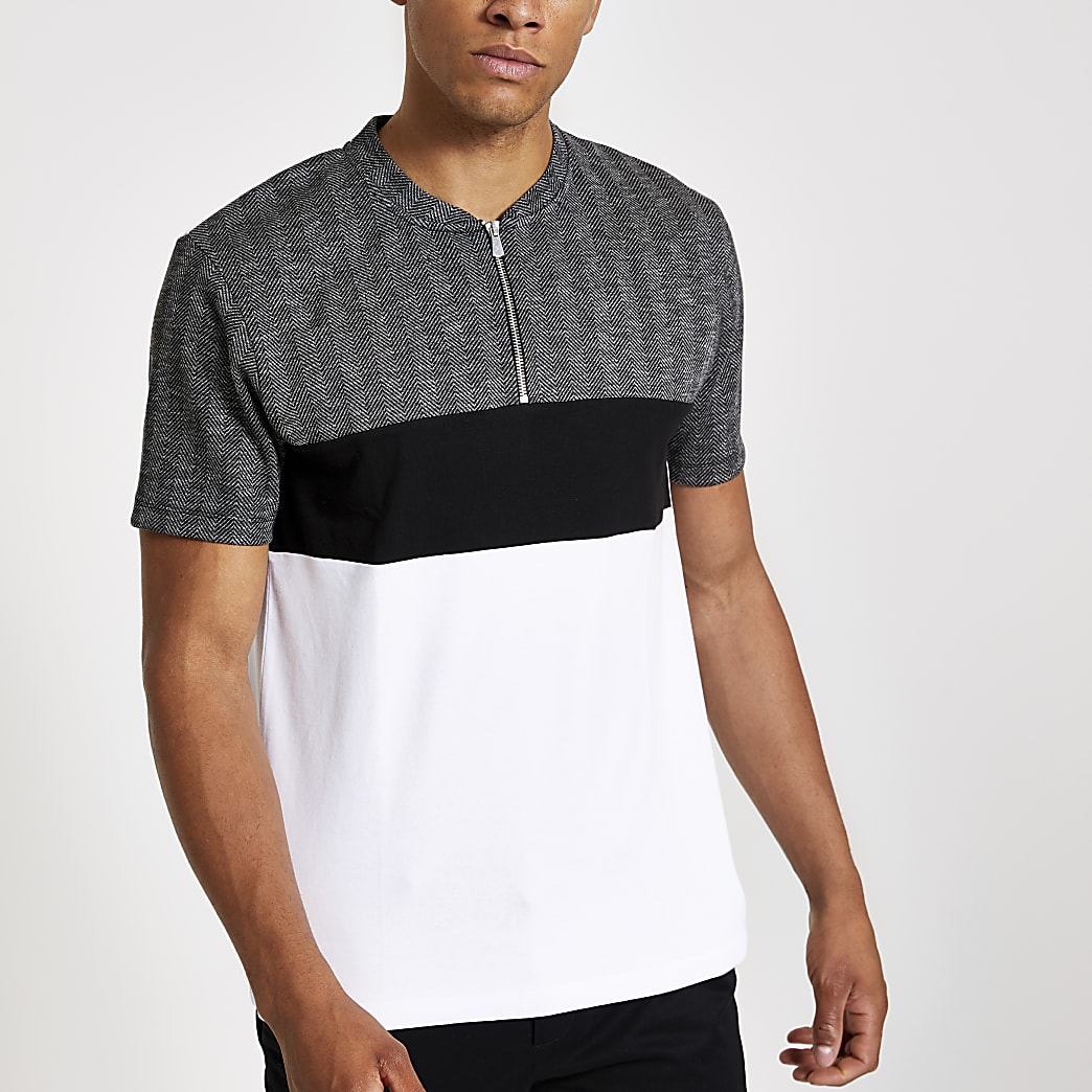 Grey check slim fit zip polo shirt