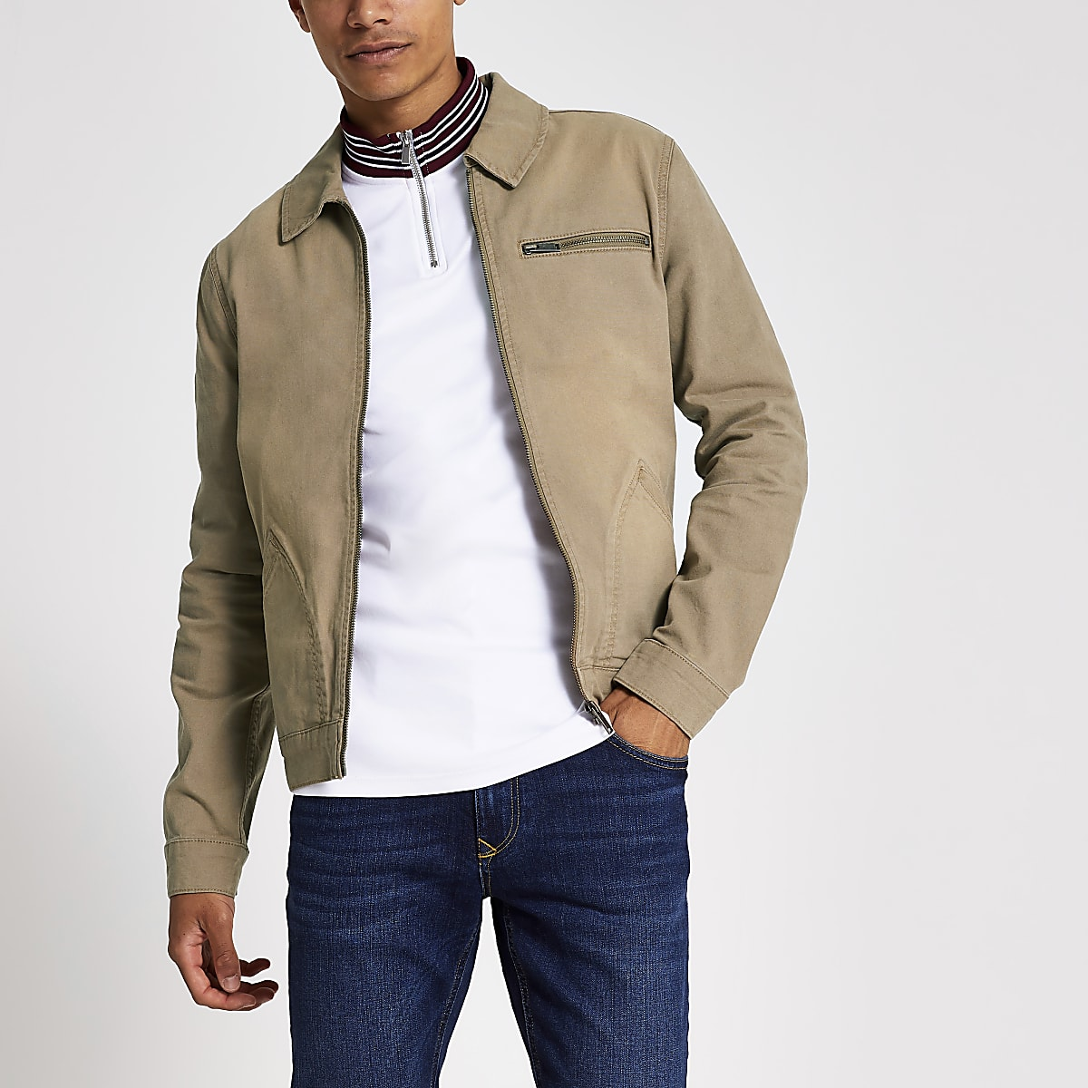 Ecru zip front long sleeve denim jacket