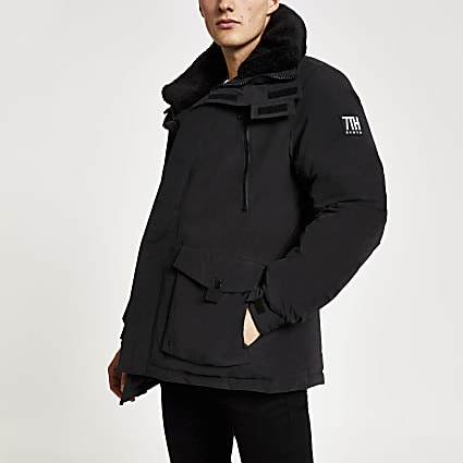 Black Svnth borg collar parka coat