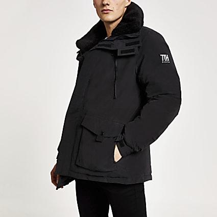 Black Svnth borg collar parka coat