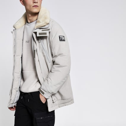 Grey Svnth borg collar parka coat