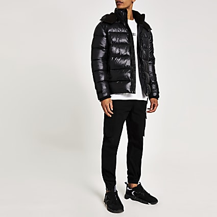 Black Prolific hooded puffer jacket