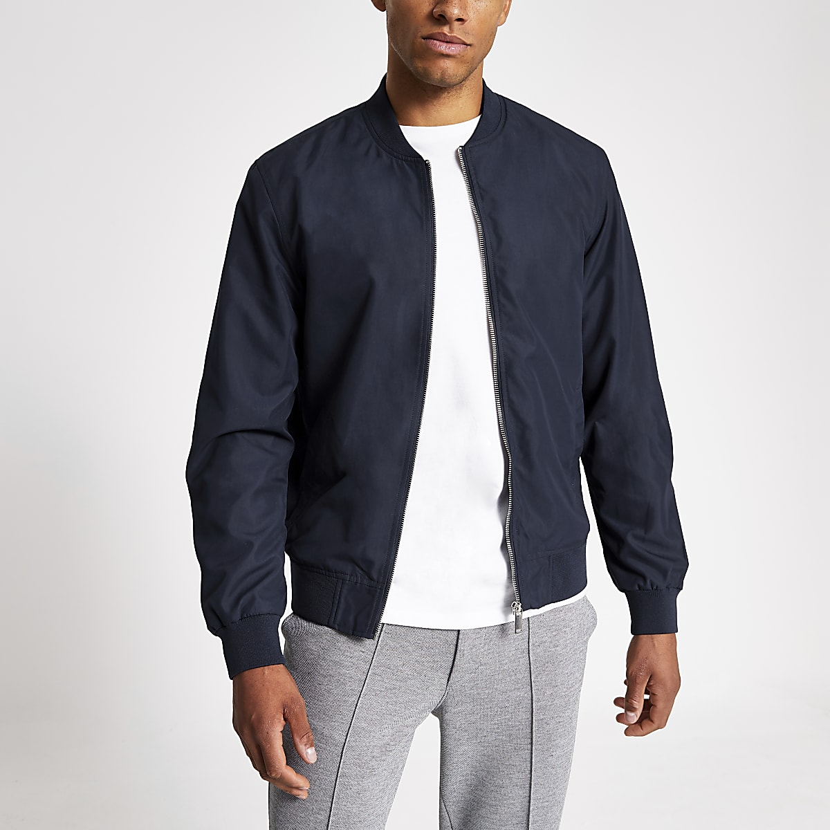 Navy long sleeve bomber jacket