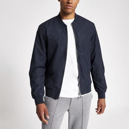 Navy long sleeve bomber jacket