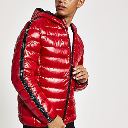 Red prolific lightweight hooded puffer