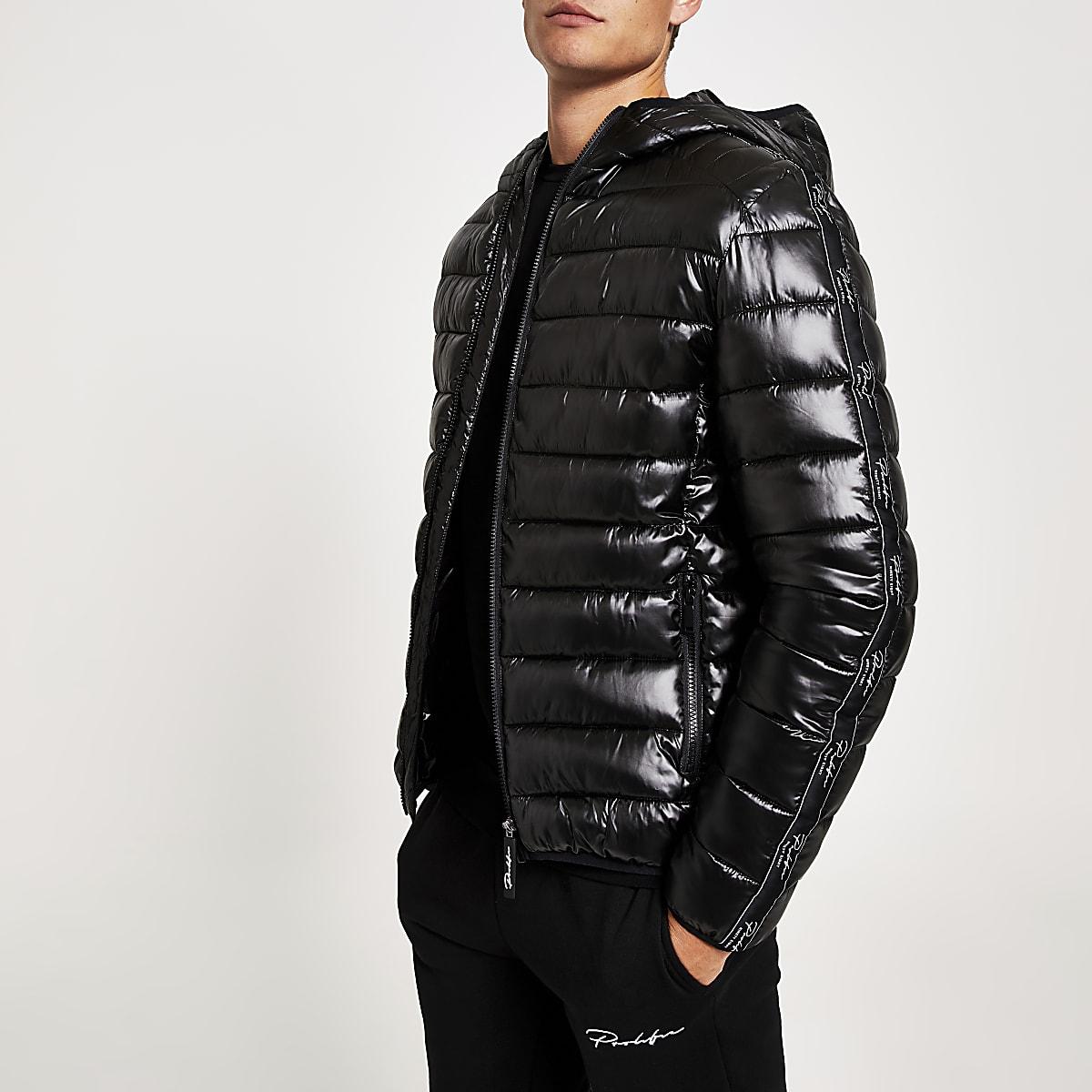 Black Prolific lightweight hooded puffer