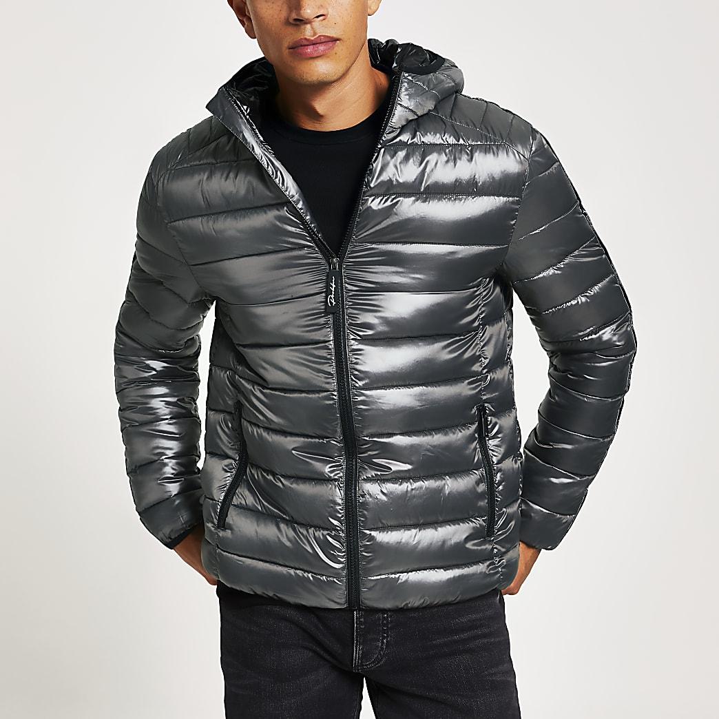 Grey prolific lightweight hooded puffer