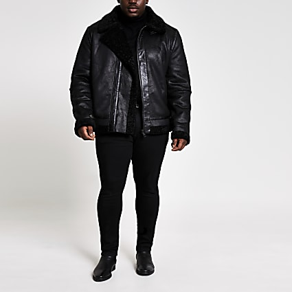 Big and Tall shearling aviator jacket