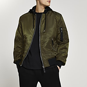 Khaki hooded bomber
