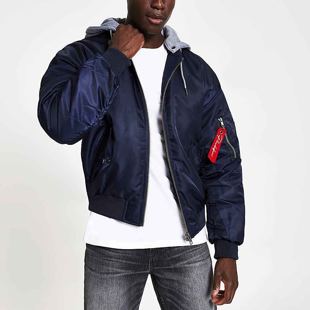 Prolific navy hooded bomber jacket